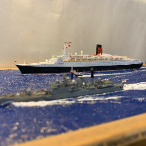 HMS Manchester escorting QE2 model