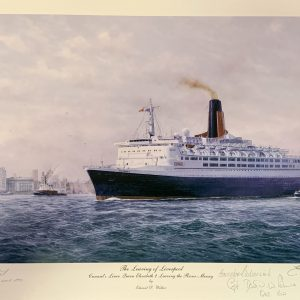 QE2 Rare signed prints – leaving Liverpool