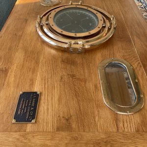 Large oak table, with electro compass and portholes