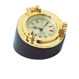 Nauticalia Brass Porthole Desk Clock Paperweight 5311