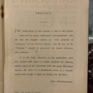 RMS TITANIC 1912 Journal of Commerce report of the official board of enquiry