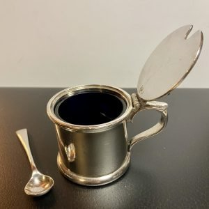 Beautifully little 19th Century P&O Mustard Pot and Spoon.