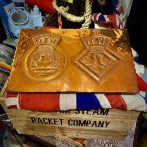 "Royal Navy ""Trench Art"" Copper Plaque HMS Ark Royal – HMS Eagle"