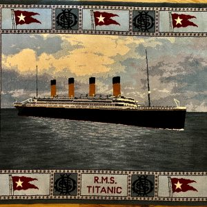 R.M.S. TITANIC: Stoddard carpet showing Titanic at sea