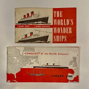 "2 CUNARD Brochures ""Worlds Wonder Ships"" & ""Conquest of the North Atlantic"""