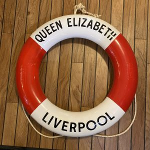 Period Perrybuoy Cunard White Star Life Ring Hand Sign written Queen Elizabeth Liverpool