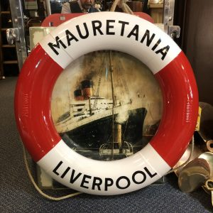 Period Perrybuoy Cunard White Star Line Life Ring Hand Sign written Mauretania Liverpool