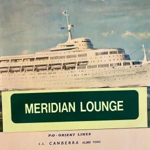 P&O SS Canberra Emergency Direction Sign MERIDIAN LOUNGE