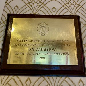 Brass Admiralty Recognition Plaque from the P&O CRUISE SHIP SS Canberra