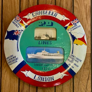 Large Hand Painted Crew Souvenir SS Canberra Life ring Caribbean picture frame 1973
