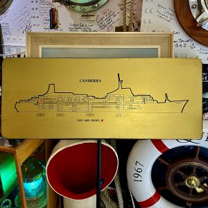 """""""YOU ARE HERE"""" S.S.Canberra P&O Flagship 1960s Gold diagram of ship layout"""