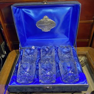 Glencairn Studios Cunard Queen Elizabeth 2 Hand Cut Crystal  Whisky Tumblers