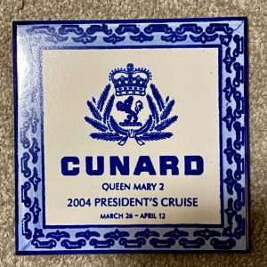 Cunard Queen Mary 2 Hand Made Ceramic Tile Presidents Cruise 2004