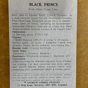 Limited Edition Print, Fred Olsen Lines: Black Prince by Andrew Dibben