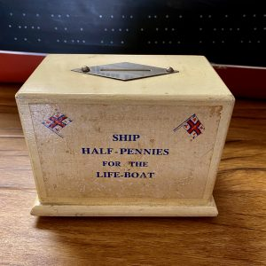 Rare and Highly Collectable Antique Ships Half Pennies Lifeboat Collection Box