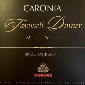CARONIA Farewell Dinner Menu Cunard Line