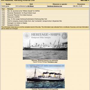 Bassett-Lowke Waterline Model Ship The Hamburg America Line SS Resolute